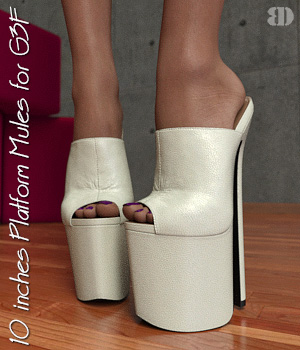 10 inches Platform Mules for G3F 3D Figure Assets bigdreams