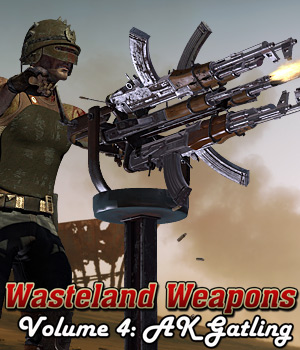 Wasteland Weapons: AK - Gatling 3D Models Cybertenko