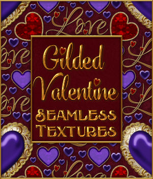 Gilded Valentine Textures w/Gift 2D Graphics Merchant Resources fractalartist01