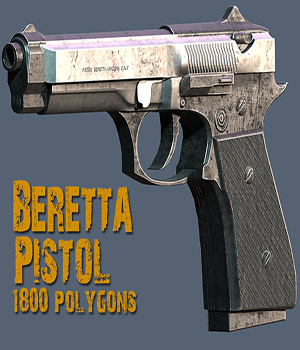 Beretta M9 Pistol - Extended License 3D Models Extended Licenses Game Content - Games and Apps KRBY