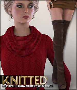 Knitted for Tunic Dress and Boots 3D Figure Assets Sveva