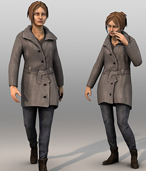Civilian Female - Extended License 3D Figure Essentials 3D Models Extended Licenses Game Content - Games and Apps KRBY