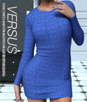 VERSUS - Tunic Dress and OTK Boots for G3F 3D Figure Assets Anagord