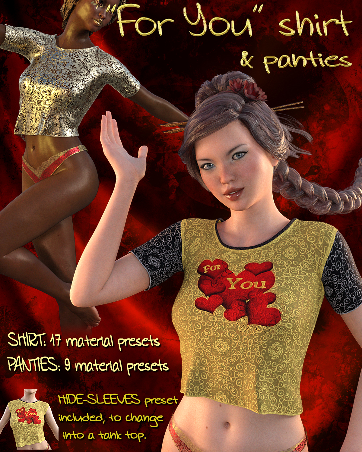 For-You Shirt and Panties for Genesis 3 Female(s)