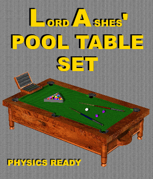 LA FBX Pool Table Set  - Extended License 3D Models Extended Licenses 3D Game Models : OBJ : FBX LordAshes