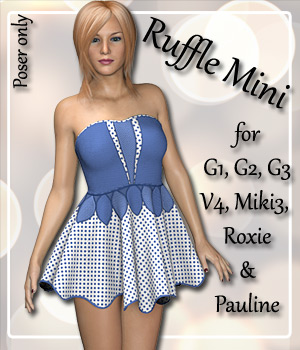 Ruffle Dress for 7 Women 3D Figure Assets karanta