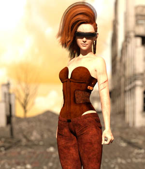 Wanderer outfit for Genesis 3 females 3D Figure Essentials Amaranth