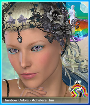 Rainbow Colors - Adhafera Hair 3D Figure Assets RenderFantasy