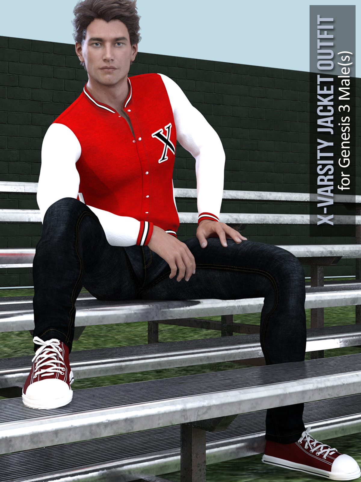 X-Varsity Jacket Outfits for Genesis 3 Males