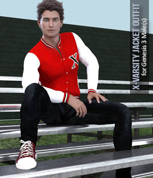 X-Varsity Jacket Outfits for Genesis 3 Males 3D Figure Assets xtrart-3d