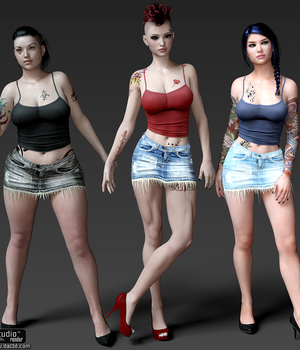 Grunge-Waif Outfit for G3F 3D Figure Essentials Lionlady