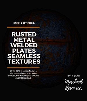 10 Seamless Rusted Metal Welded Plates PBR Textures and Texture Maps 2D Extended Licenses Game Content - Games and Apps nelmi