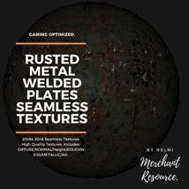 10 Seamless Rusted Metal Welded Plates PBR Textures and Texture Maps image 1