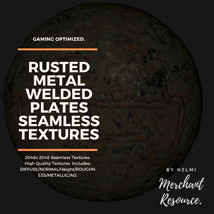 10 Seamless Rusted Metal Welded Plates PBR Textures and Texture Maps image 7
