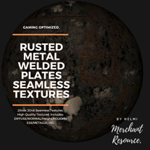 10 Seamless Rusted Metal Welded Plates PBR Textures and Texture Maps image 8