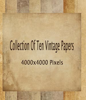 Set of 10 Vintage Papers 2D Graphics EllerslieArt