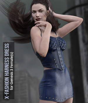 X-Fashion Harness Dress for Genesis 3 Females 3D Figure Assets xtrart-3d