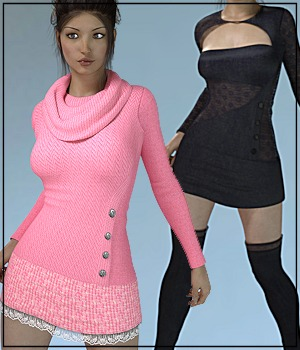7th Ave: Tunic Dress & Boots 3D Figure Assets 3-DArena