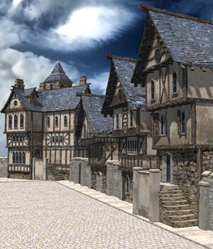 Medieval Street (for Poser) by VanishingPoint