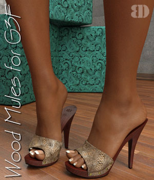 Wood Mules for G3F 3D Figure Essentials bigdreams