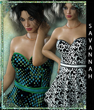 Savannah for Fads Skater Dress & Ankle  Boots  3D Figure Assets sandra_bonello