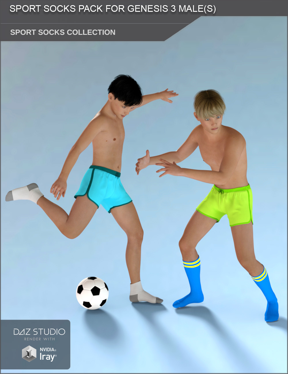 Sport Socks Pack for Genesis 3 Males by SF-Design
