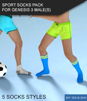 Sport Socks Pack for Genesis 3 Males 3D Figure Essentials SF-Design