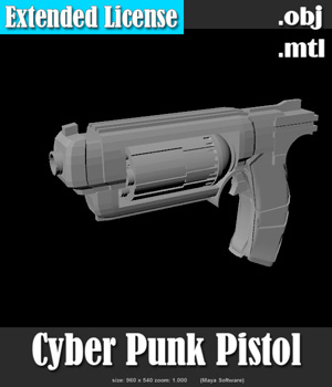 Cyber Punk Pistol - Extended License 3D Models Extended Licenses 3D Game Models : OBJ : FBX Darkworld