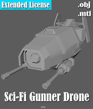 Gunner Drone - Extended License 3D Models Extended Licenses Game Content - Games and Apps LazarusParadox