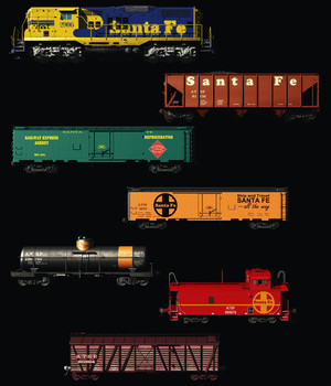 ATSF FREIGHT TRAIN - EXTENDED LICENSE 3D Models Extended Licenses 3D Game Models : OBJ : FBX 3DClassics