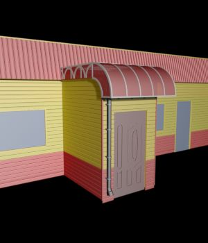 M3 Diner Style Building obj, 3ds, lwo - Extended License