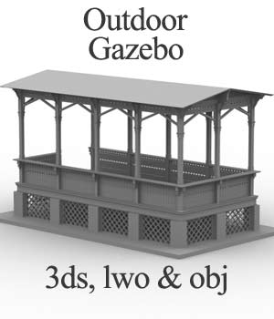 M5 Outdoor Gazebo  OBJ, LWO & 3DS - Extended License 3D Models Extended Licenses 3D Game Models : OBJ : FBX RPublishing