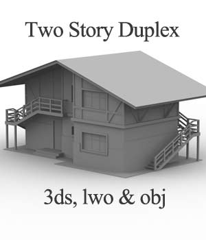 M9 Two Story Duplex OBJ, 3DS, LWO - Extended License 3D Models Extended Licenses 3D Game Models : OBJ : FBX RPublishing