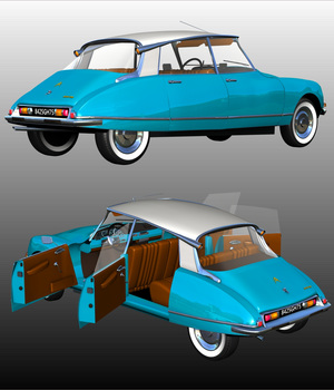 CITROEN DS21 BERLINE - Extended License 3D Models Extended Licenses 3D Game Models : OBJ : FBX Nationale7