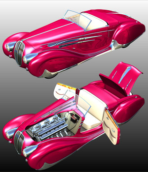 DELAHAYE FIGONI FALASCHI 1939 - Extended License 3D Models Extended Licenses Nationale7