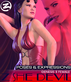 Z She Devil - Poses and Expressions for Genesis 3 Female / Victoria 7 3D Figure Essentials Zeddicuss