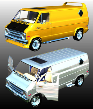 DODGE STREET VAN 1970 - Extended License 3D Models Extended Licenses Nationale7