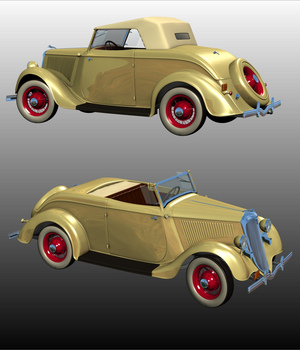 FORD 1934 V8 ROADSTER - Extended License 3D Models Extended Licenses Ourias3D