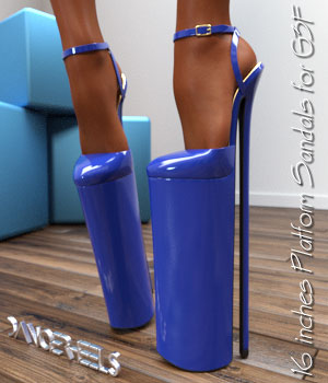 DANGERHEELS - 16 inches Platform Sandals for G3F 3D Figure Assets bigdreams