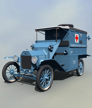 FORD T AMBULANCE 1917 - Extended License 3D Models Extended Licenses 3DClassics