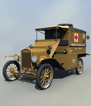 FORD T AMBULANCE 1918 EXTENDED LICENSE 3D Models Extended Licenses 3DClassics