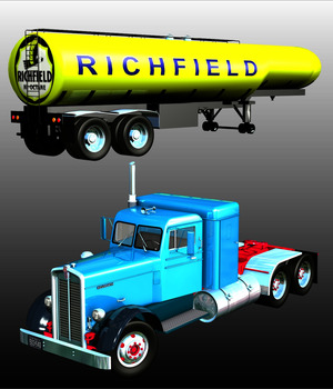 KENWORTH 825 & TANK TRAILER 1948-EXTENDED LICENSE 3D Models Extended Licenses Nationale7