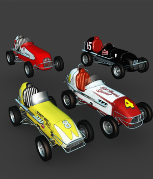 MIDGET RACE CAR BUNDLE-EXTENDED LICENSE 3D Game Models : OBJ : FBX 3D Models Extended Licenses Nationale7