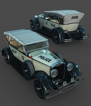 LINCOLN 1929 CHICAGO POLICE-EXTENDED LICENSE 3D Game Models : OBJ : FBX 3D Models Extended Licenses 3DClassics