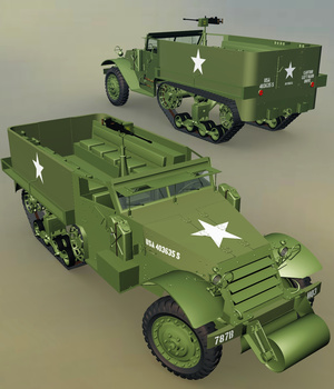 M9 A1 HALF-TRACK-EXTENDED LICENSE 3D Game Models : OBJ : FBX 3D Models Extended Licenses Nationale7