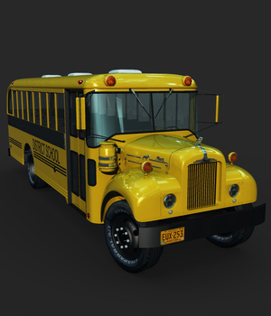 MACK B SCHOOLBUS-EXTENDED LICENSE 3D Game Models : OBJ : FBX 3D Models Extended Licenses Nationale7