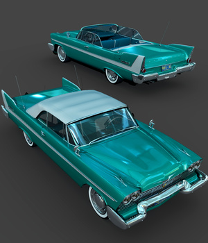 PLYMOUTH 1958 CONVERTIBLE-EXTENDED LICENSE 3D Models Extended Licenses Nationale7