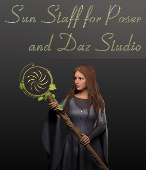 Sun Staff for Poser and Daz Studio 4.9 3D Models TMDesign