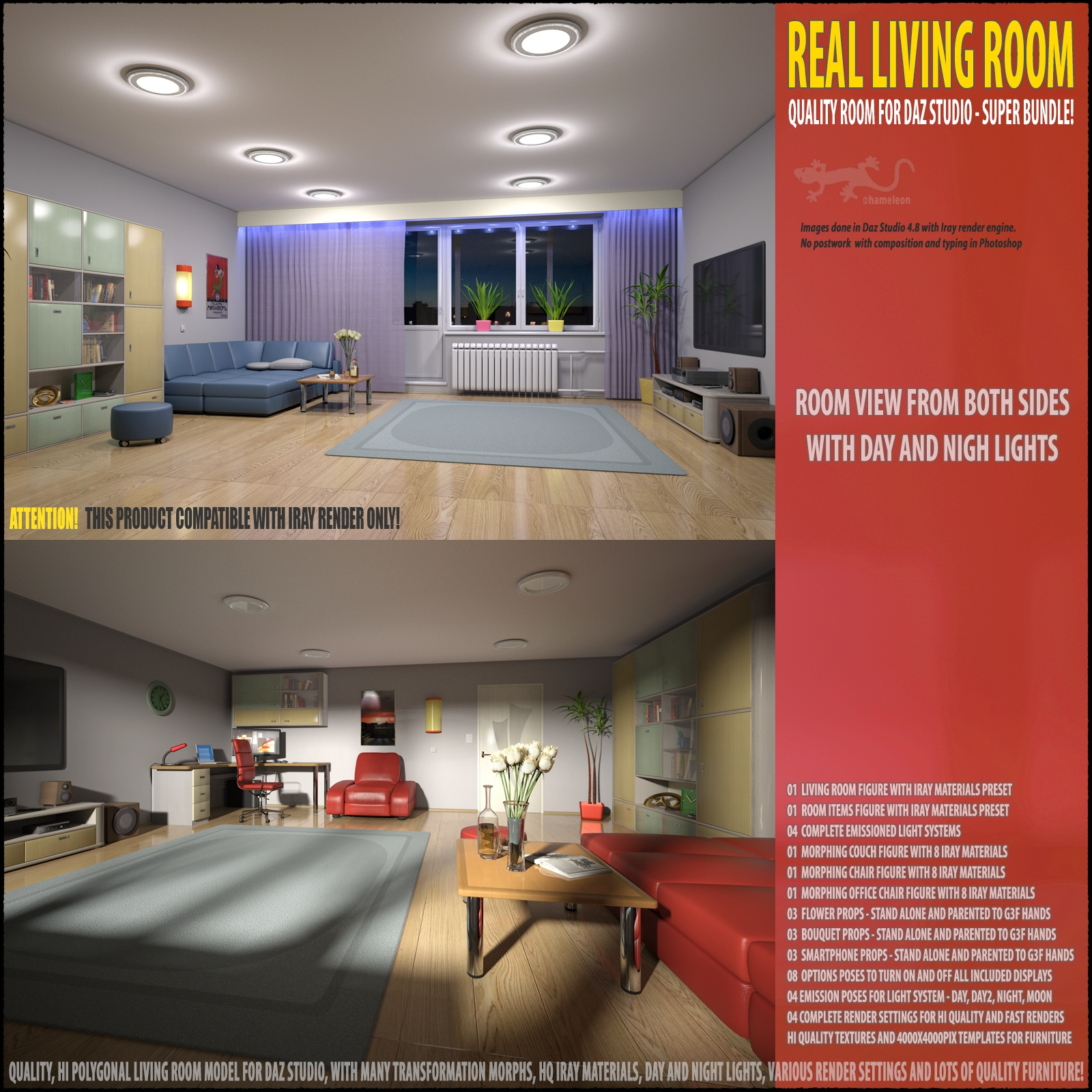 living room for daz studio 3d models hameleon