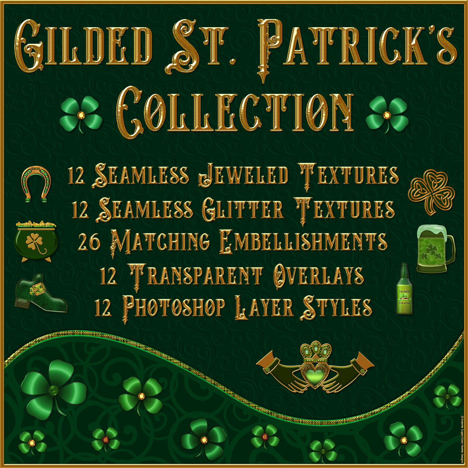 Gilded St. Patrick's Collection by fractalartist01